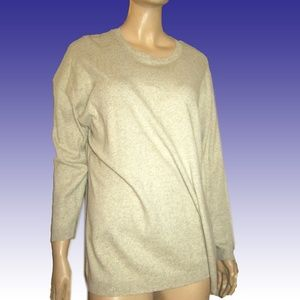 New DKNY Sloppy Slouchy Tunic Sweater Petite Beig